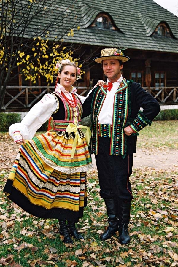 Couple in traditional native clothing from Lublin Poland