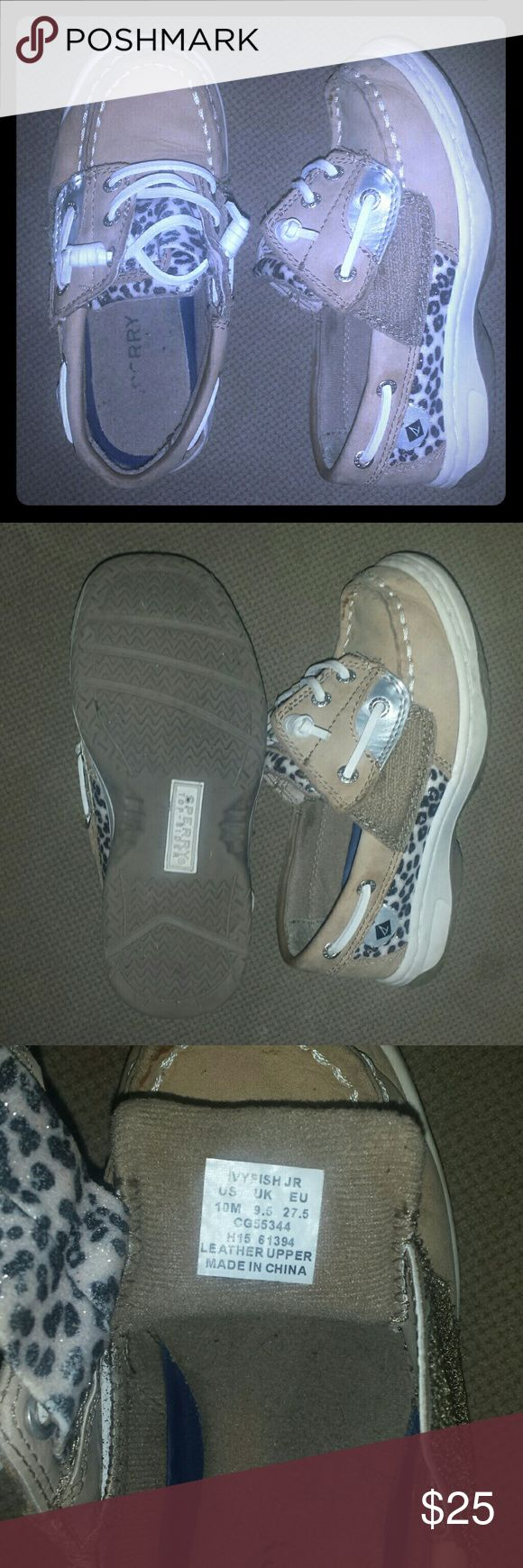 Toddler girl sperrys Tan and cream colored. lightly worn. size 10 medium cheetah print with velcro. Sperry Top-Sider Shoes