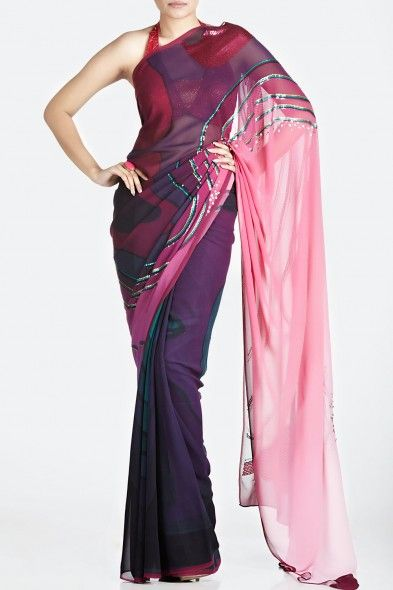 Ombre Purple Digital-Print Saree