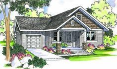 The Danville home plan is a two story, cottage style house plan with 1426 total living square feet. This compact cottage home plan features two bedrooms and shared bathroom upstairs. The living room with a gas fireplace is open to the dining room and kitchen. The owners' suite on the main floor has a roomy walk-in closet, and a tub/shower in the bath as