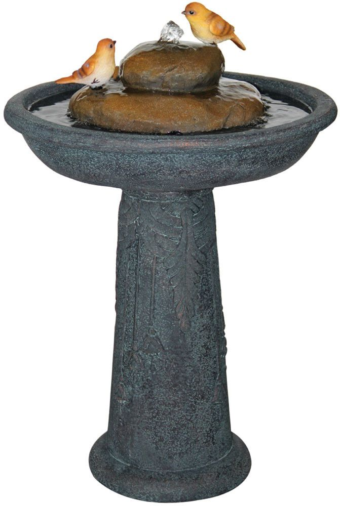 Features:  -Includes: Fountain, water pump.  -Material: Resin.  -Light weight fountain is the perfect way to add joyful water-sound to your patio or home.  -Storing your fountain indoors during the wi
