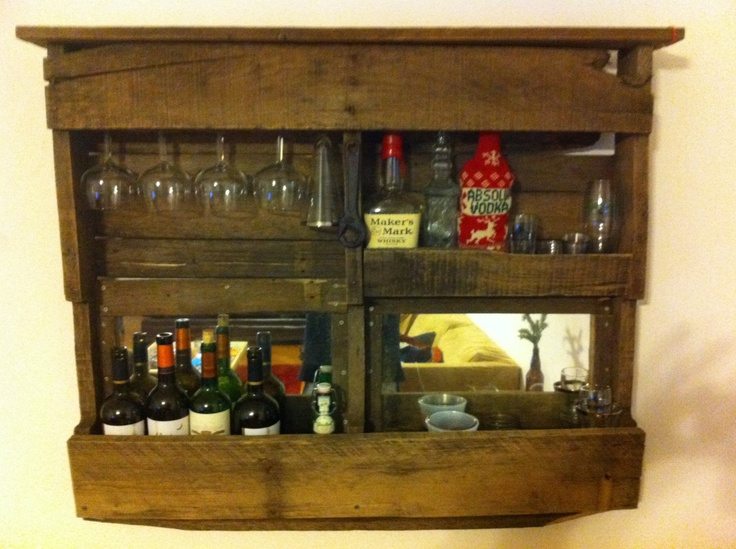 Wall bar pallet bar wine bar via etsy for Pallet wine bar