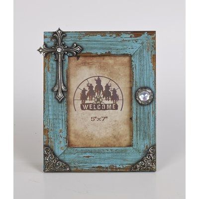 Peterborough Distressed Picture Frame with Cross by Wayfair