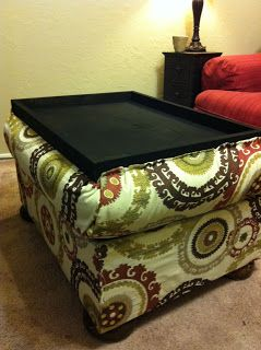 DIY Ottoman with storage and reversible top w/tray