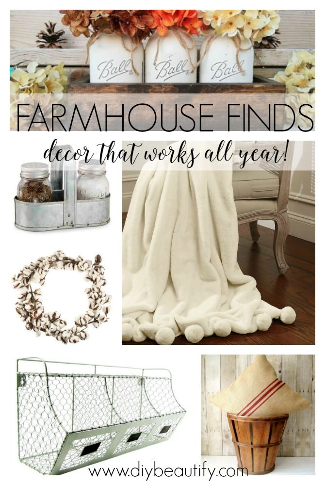 Fabulous farmhouse fall decor for your home. Not strictly fall, these pieces can be used all year long! See the curated collection at diybeautify.com!