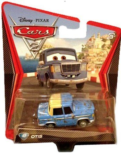 Disney / Pixar CARS 2 Movie 1:55 Die Cast Car Otis by Mattel. $14.50. All your favorite characters from the Disney Pixar film, CARS 2, in 1:55th scale. With authentic styling and details, these die cast characters are perfect for recreating all the great scenes from the movie. Collect them all!Star racecar Lightning McQueen and the incomparable tow truck Mater take their friendship to exciting new places in Disney Pixar Cars 2 when they head overseas to compete in the first...