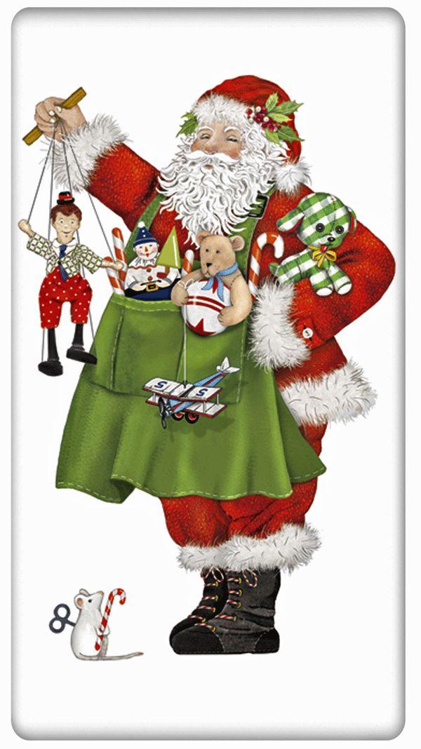 Santa with Toys 100% Cotton Flour Sack Dish Towel Tea Towel