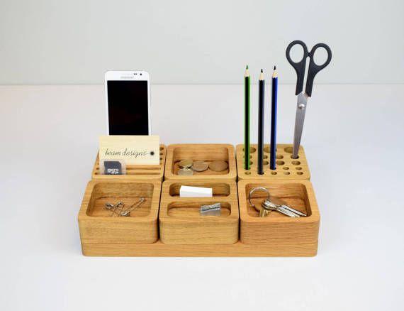 Wooden Desk Tidy Oak Desk Organiser Stacking Office by BeamDesigns