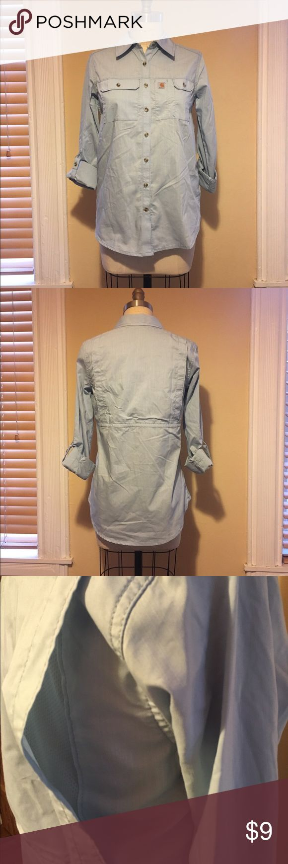 Carhartt women's button up work shirt Carhartt Ridgefield work shirt- 60/40 cotton/poly - vented mesh back for breathability - stain resistant material - functional front pockets - roll tab sleeve - like NEW, never worn Carhartt Tops Button Down Shirts