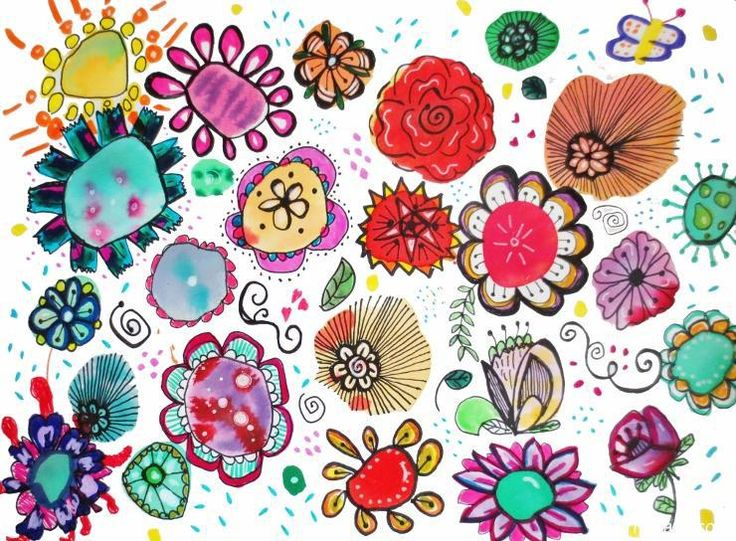 Watercolor Flower Doodles– Easy & Fun! – Art is Basic | An Elementary Art Blog