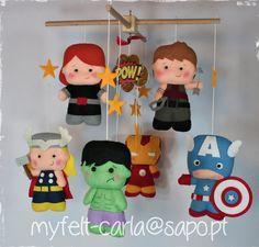 Bebé fieltro móvil cuna, Mobile Super Heroes, ropa de cama, colgantes, Iron Man…