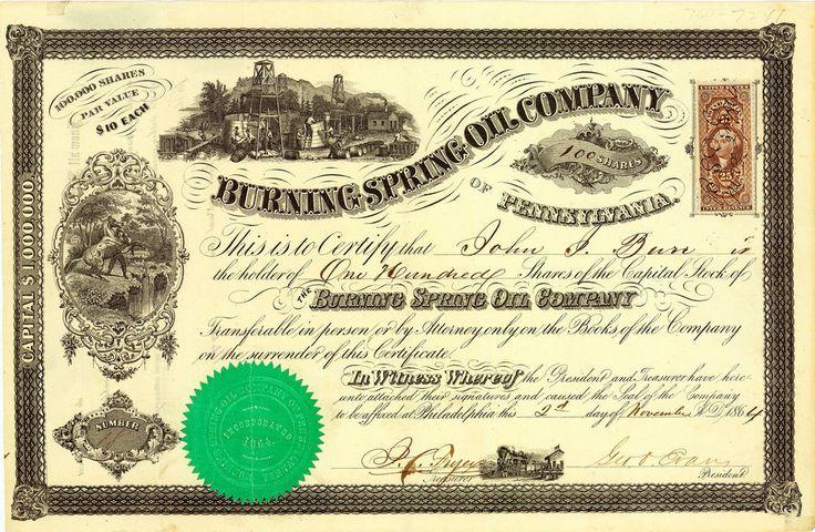 Burning Spring Oil Co., Philadelphia, Pa., Aktie von 1864 + ÄUSSERST SELTEN