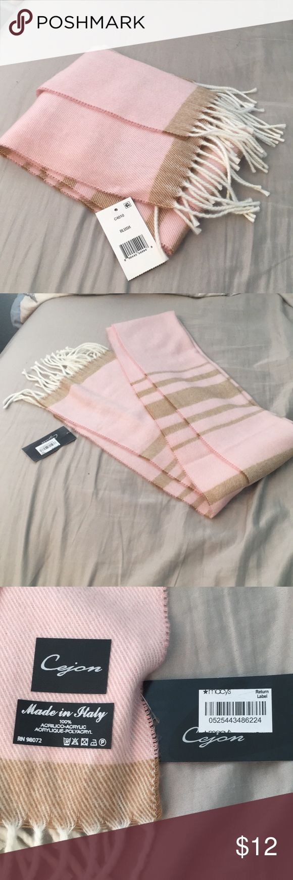 Blush pink and tan scarf with white tassles. NWT Pink and light brown scarf with white tassels at the ends. Super soft and warm fabric! Never been worn, new with tags! Macy's Accessories Scarves & Wraps
