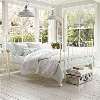 Country white lovely  bedroom setting  The windows and floor are so  delightful. 17 Best images about Staged Bedrooms on Pinterest   Master