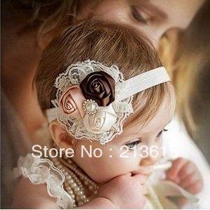 Free shipping Retail Infant flower headband Babies pink lace hairband Toddler Baby girls Felt Flower headbands A6