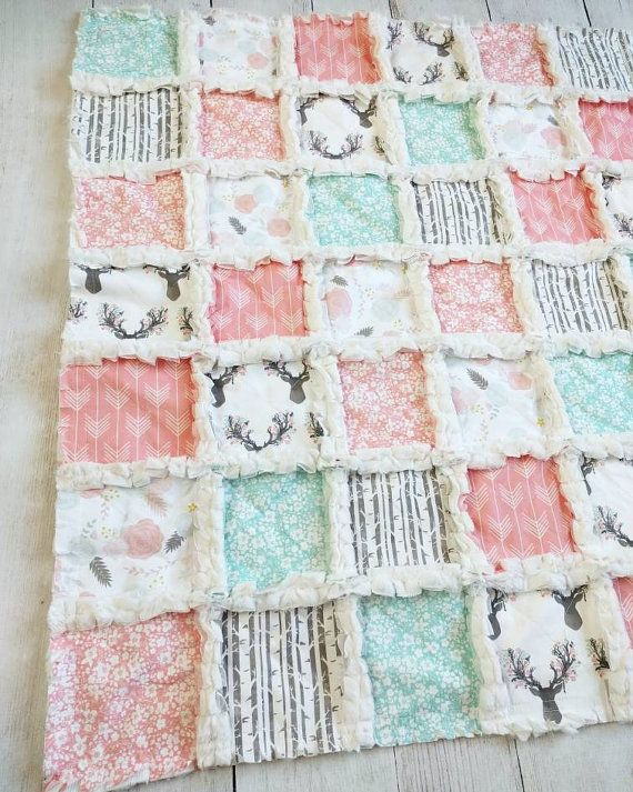 Woodland Crib Quilt for Baby Girl - Coral Crib Bedding with Deer, Arrows, & floral Prints - Woodland Gift for Baby Girl - Woodland Nursery
