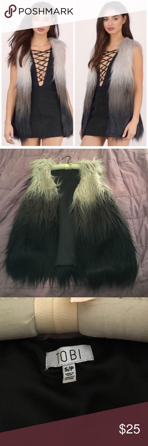 Faux fur ombré vest! Faux fur black and grey ombré fur vest! Worn only once, no wear and tear 💙💙💙 price is firm Tobi Jackets & Coats Vests