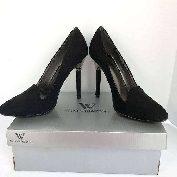 Worthington High Heel Pump Stilettos Black Suede Womens Shoes 7.5 #Worthington #Stilettos #BridalorWedding