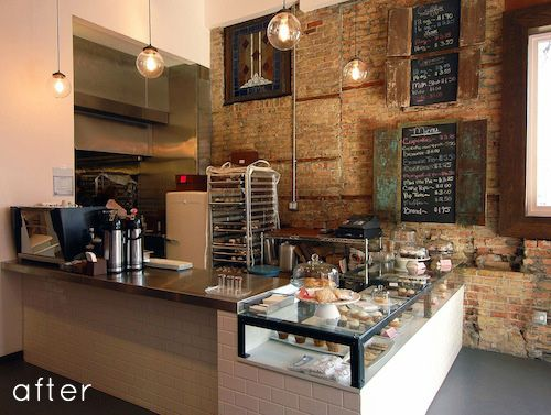 This is a rustic/vintage/modern take on a retail cupcake store - sooo cool! Check out design sponge for the rest of the pictures.  http://www.designsponge.com/2012/03/before-after-brick-mortar-cupcake-shop-redo.html