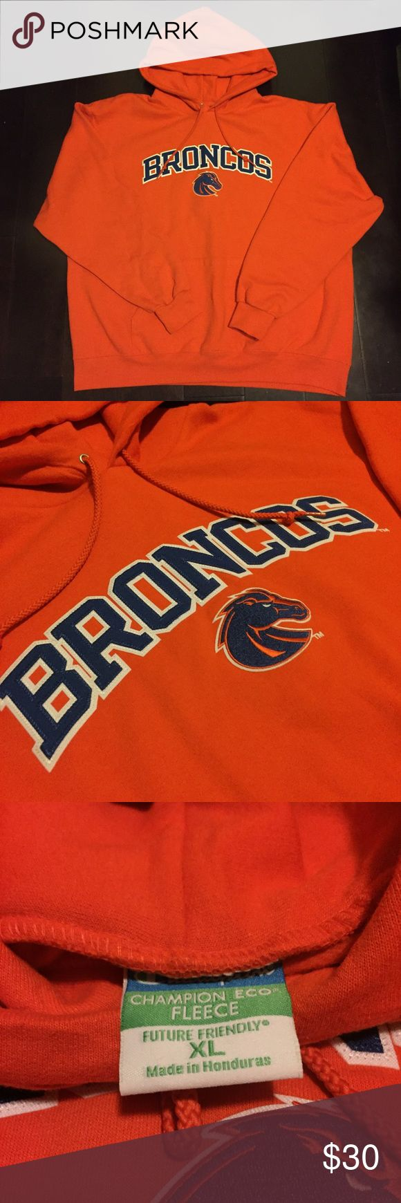 Denver Broncos Champion Pullover Champion brand Denver Broncos hoodie. Made with Champion's eco friendly fleece. Men's XL. only one available. Perfect condition. Champion Sweaters