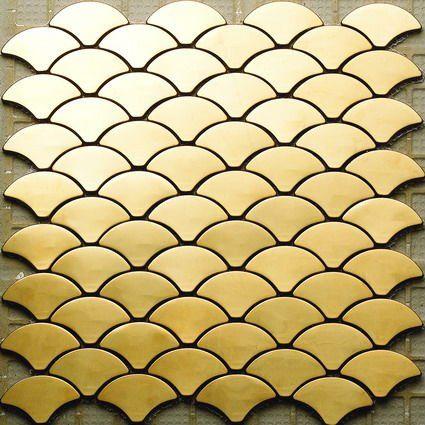 Gold stainless steel mosaic tile details pinterest - Metallic fliesen ...