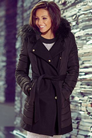 Buy Michelle Keegan Quilted Wool Blend Coat from the Next UK online shop