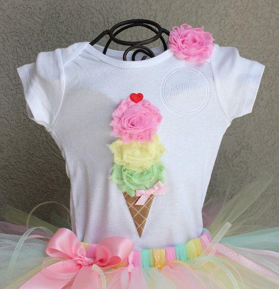 SWEET SUMMER --Birthday Girl Ice Cream Cone Bodysuit or Shirt Only, sizes Newborn-5T