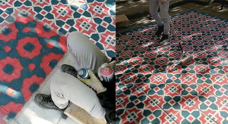 Artista de rua cria belos azulejos coloridos utilizando somente tinta spray e estêncil - Stylo Urbano #arte #stencil #spray #azulejos