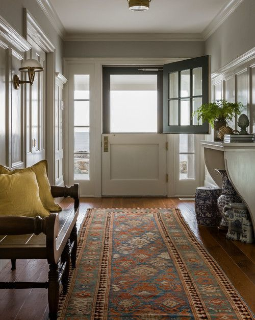 House Tour: Gloucester, MA - Design Chic A beautiful entrance in the beach front cottage.  Love the wood floors and paint color!