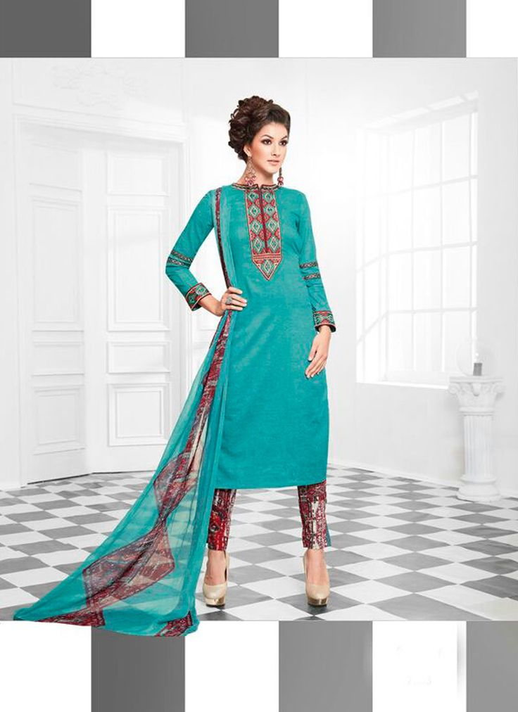STRIKING TURQUOISE COTTON SILK DESIGNER SUIT