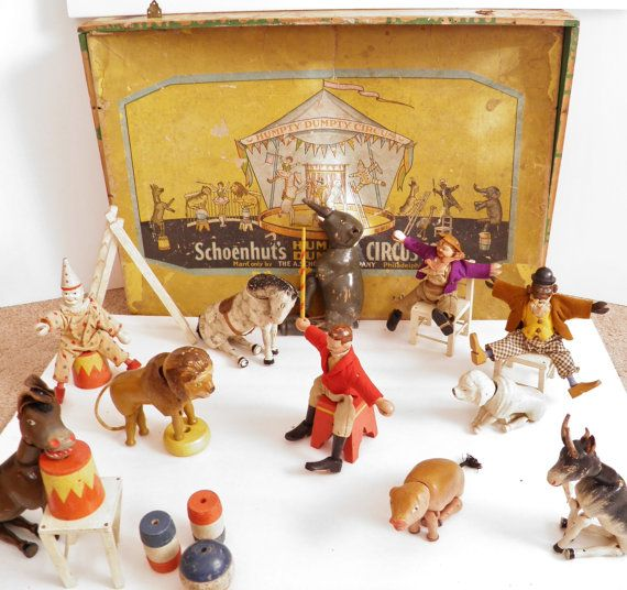 Collection of 23 Schoenhut's wooden circus toys in original box