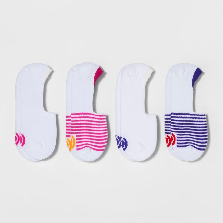 Women's Invisible Liner Socks 4pk - C9 Champion White 5-9, White/Purple