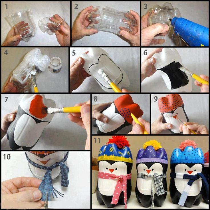Penguins!!! Water bottle craft