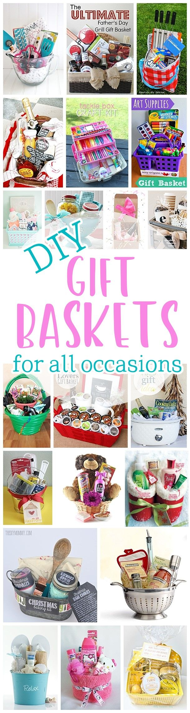 Do it Yourself Gift Baskets Ideas for Any and All Occasions - Perfect DIY Gift Baskets for Christmas - Birthdays - Thank You Gifts - Housewarmings - Baby Showers or anytime! #giftbaskets #giftbasketideas #easygifts #giftideas