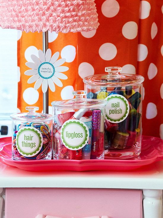 Bedside Manner - cute! Storage for girl things such as lip gloss, hair things, and nail polish. Place the jars on a tray to keep them together