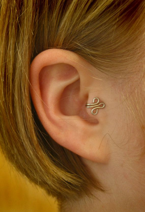 Fleur RIGHT Tragus Cuff Silver Ear Cuff wire loop by ZyDesigns, $12.00