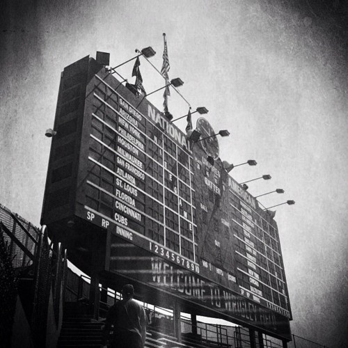 At Last #iphoneography #blackandwhite [apps used: #camera #photoforge2 #simplybw #prohdr] #chicago #cubs #chicagocubs #wrigley #wrigleyfield #scoreboard #mlb #baseball #openingday #openingseries #gocubsgo #instagood #igerschicago (Taken with instagram)