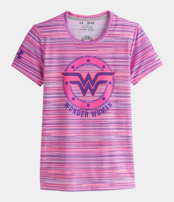 a20c10696fa7c Girls  HeatGear® Sonic Wonder Woman Printed Short Sleeve   Pinterest    Wonder Woman, Armours and Short sleeves
