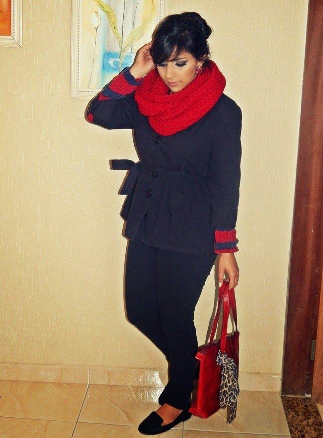 Diário da Moda: Look do dia: Cachecol vermelho