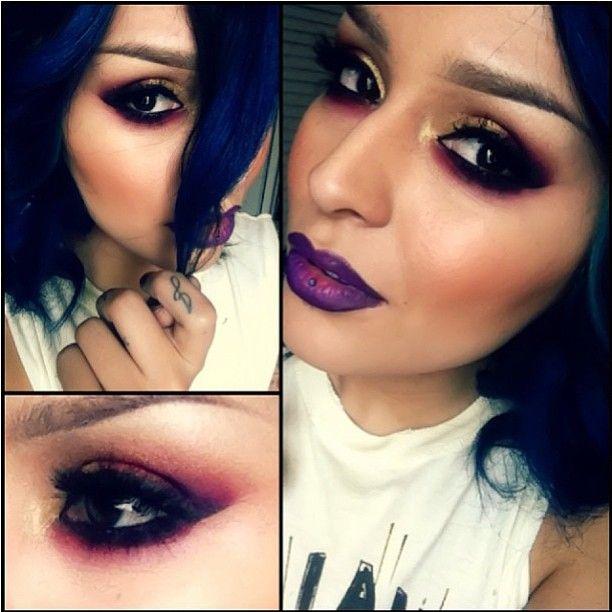 Dark, sexy eyes by Loreleicakes using Sugarpill Poison Plum, Love+ and Goldilux!