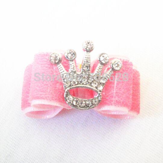 Nieuwe handgemaakte 50pc/lot bling roze kroon haar bogen accessoires hond kat huisdier verzorgen bogen in Dog Grooming van Huis & Tuin op Aliexpress.com