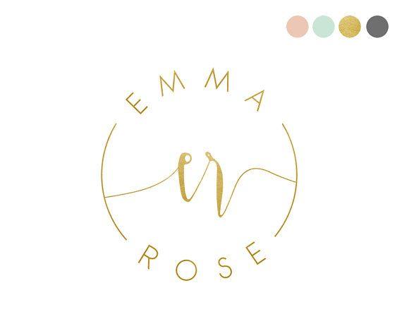 Gold Foil Logo Design. Feminine Logo. by CrookedLittlePixel