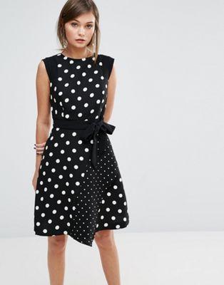 Oasis Polka Dot  Tie Front Shift Dress