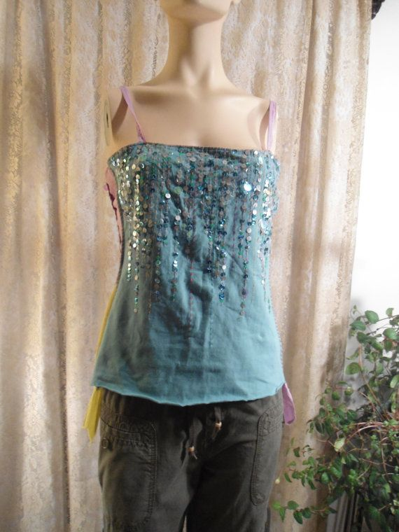 Size Med/LG Sequined Upcycled Tank Top Boho Disco by LandofBridget