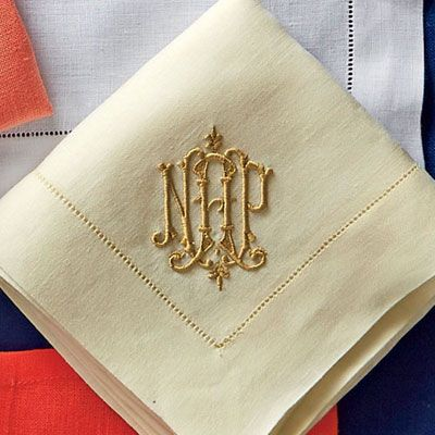 Ivory with Gold Monogram - A Guide to Monogrammed Napkins - Southern Living Gorgeous! From Leontine Linens