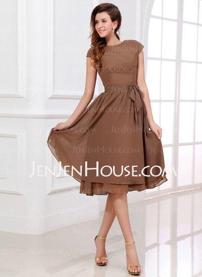 - A-Line/Princess Scoop Neck Tea-Length Chiffon Bridesmaid Dress With Sash (007017303) http://jenjenhouse.com/A-Line-Princess-Scoop-Neck-Tea-Length-Chiffon-Bridesmaid-Dress-With-Sash-007017303-g17303