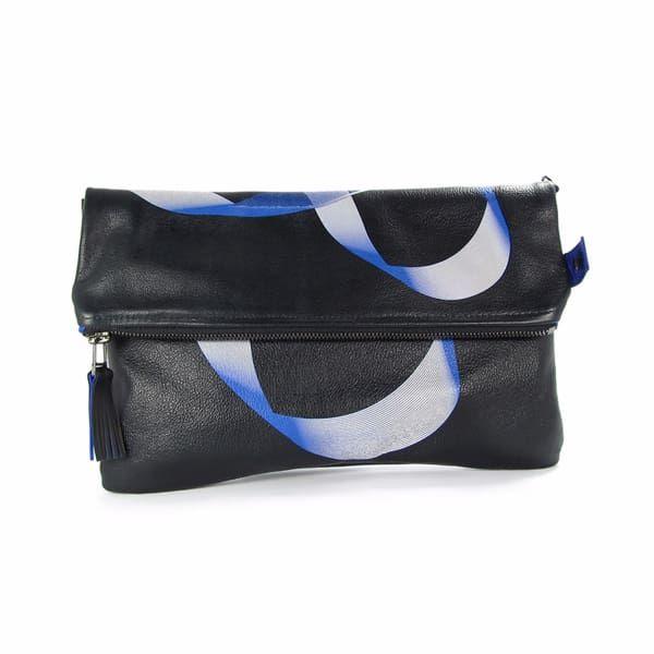 Leather Fold-Over Clutch Bag - Royal Blue & Black Möbius | Tovi Sorga | Wolf & Badger