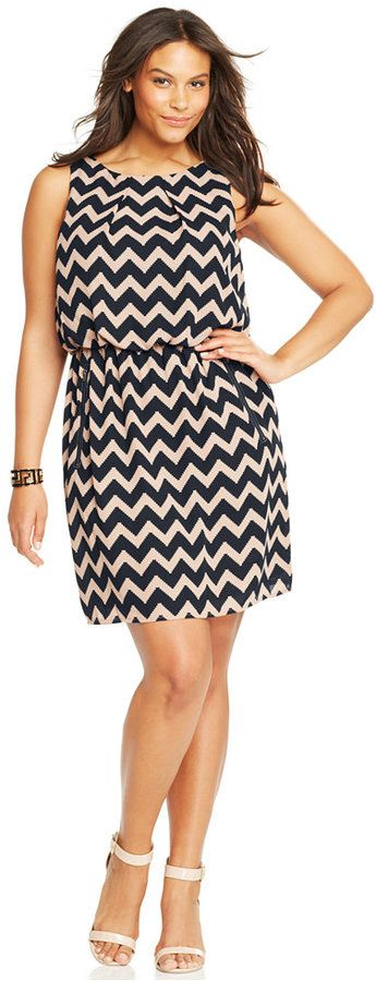 SL Fashions Plus Size Sleeveless Chevron Blouson Dress