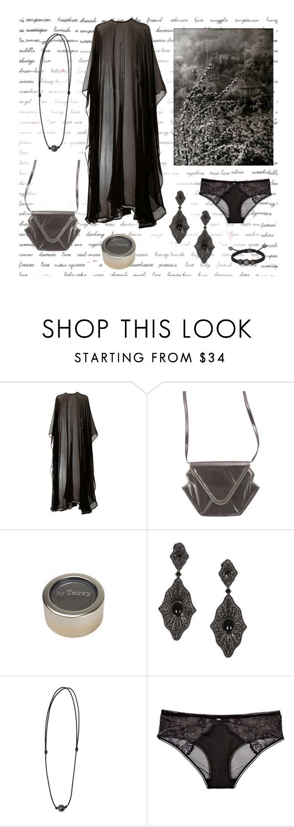 """""""The emptiness"""" by rougenoir666 ❤ liked on Polyvore featuring Dries Van Noten, By Terry, Privé Jewellery, ShamballaJewels, Calvin Klein Underwear, vintage purse, earrings, lace briefs and sheer poncho"""