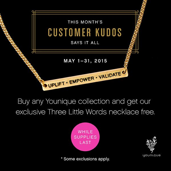 May's Customer Kudos is a reminder that we are a mission-based company. Purchase any collection and receive our Three Little Words necklace free. Www.hopeshautelashes.com
